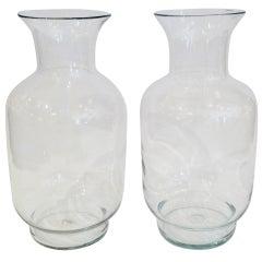 Large Blenko Classic Urn Form Crystal Vases 1970s