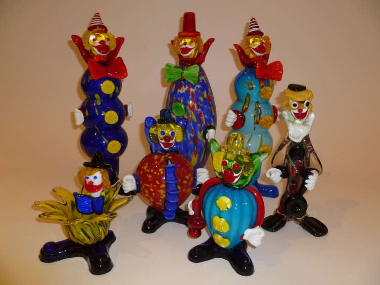Italian Fun Collection of Murano Glass Clowns For Sale