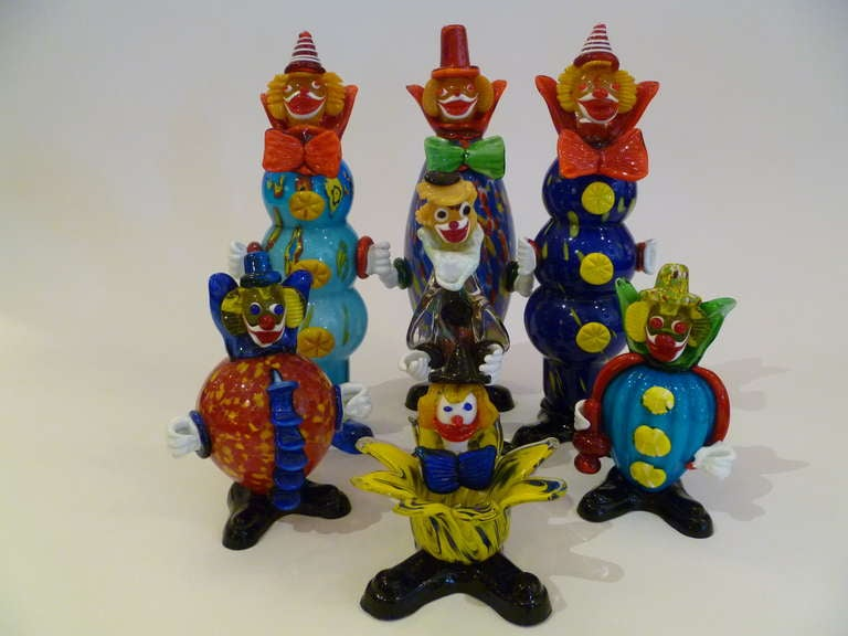 Fun Collection of Murano Glass Clowns For Sale 4