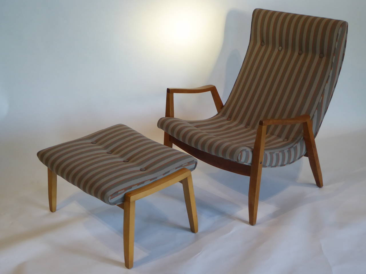 Mid Century Modern 1950s Milo Baughman Scoop Lounge Chair And Ottoman For  Sale