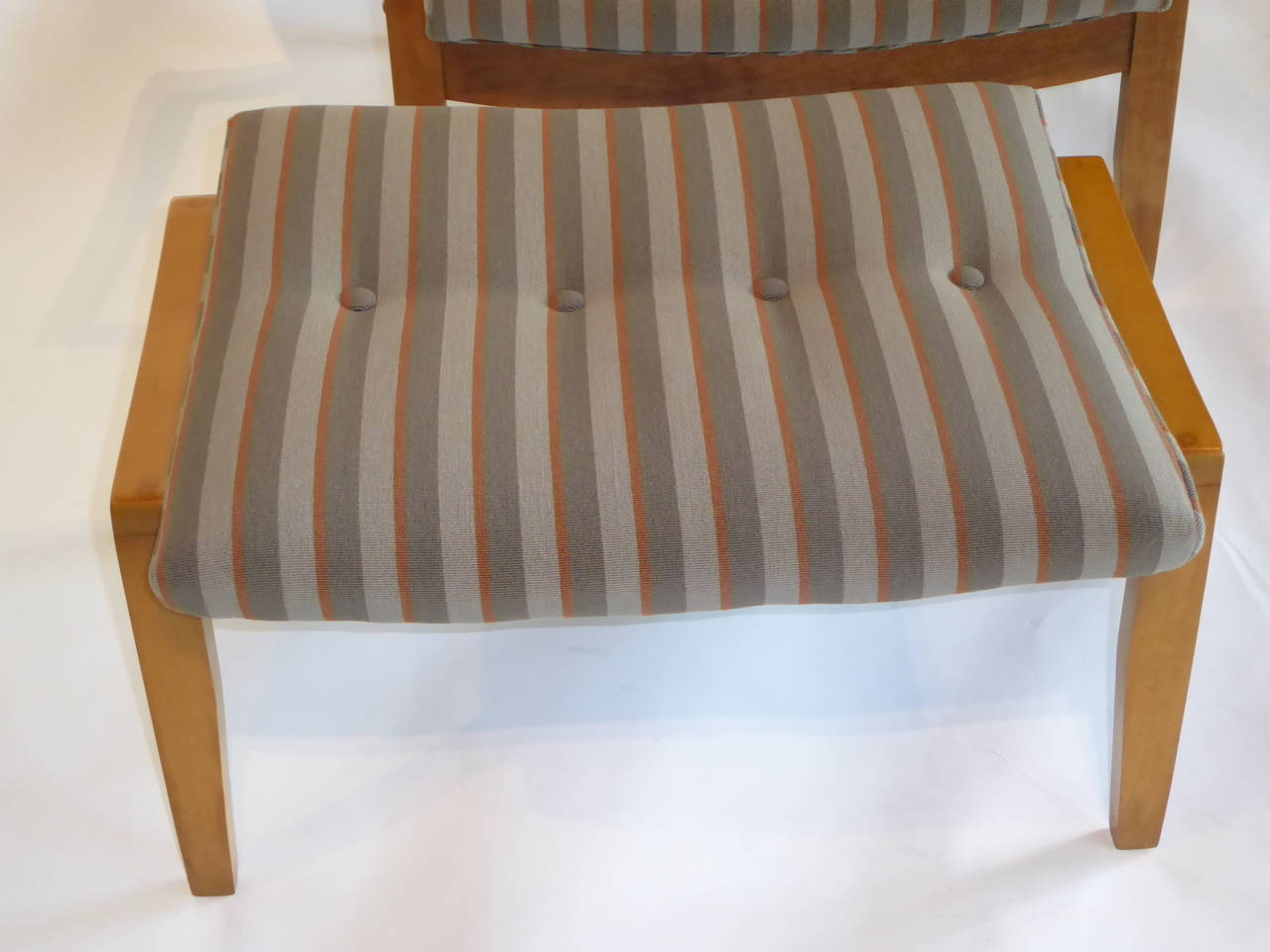 Mid-20th Century 1950s Milo Baughman Scoop Lounge Chair and Ottoman For Sale