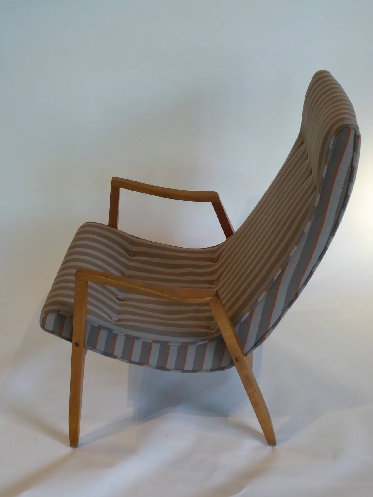 1950s Milo Baughman Scoop Lounge Chair and Ottoman For Sale 1