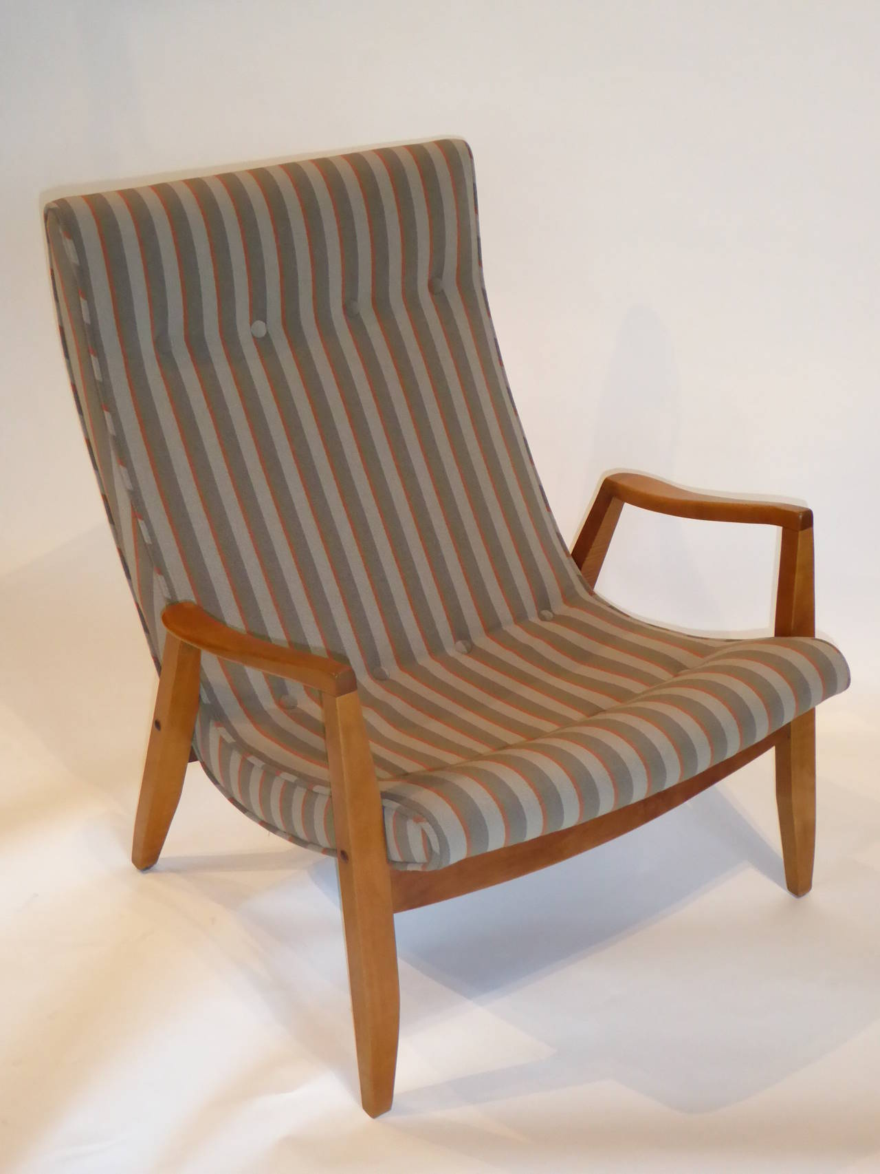 1950s Milo Baughman Scoop Lounge Chair and Ottoman In Excellent Condition For Sale In Miami, FL
