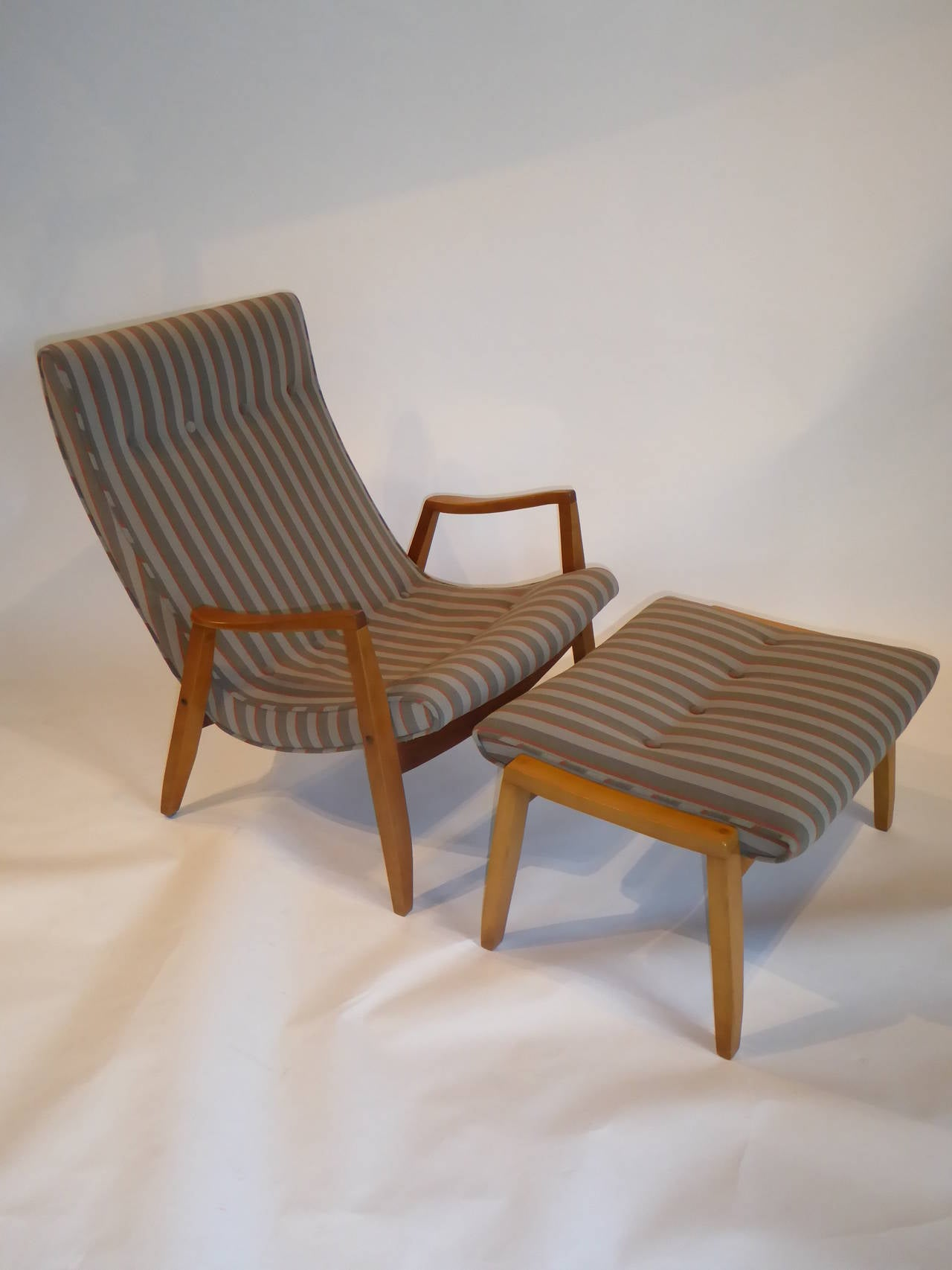 1950s Milo Baughman Scoop Lounge Chair And Ottoman At 1stdibs