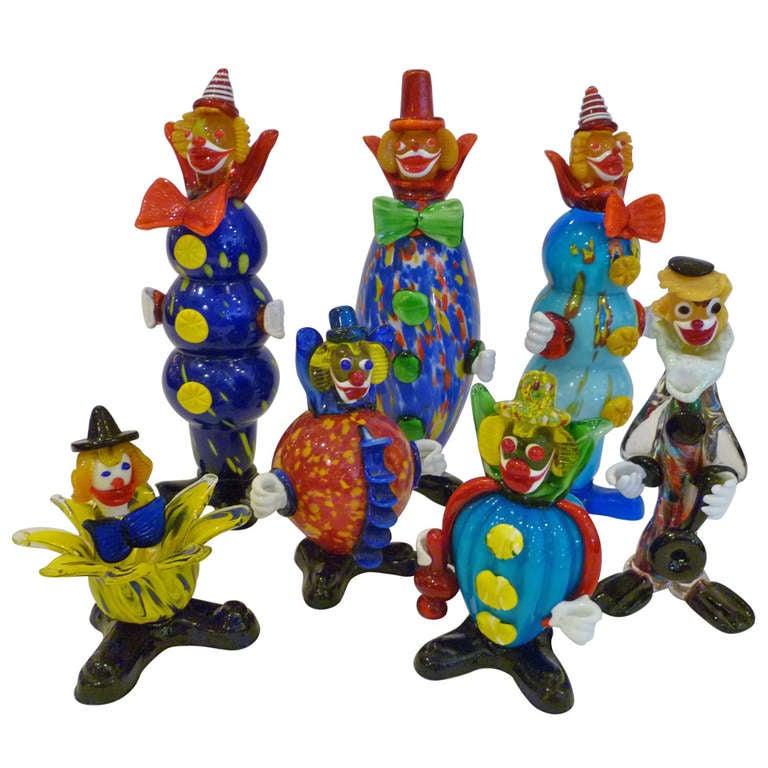 Fun Collection of Murano Glass Clowns For Sale