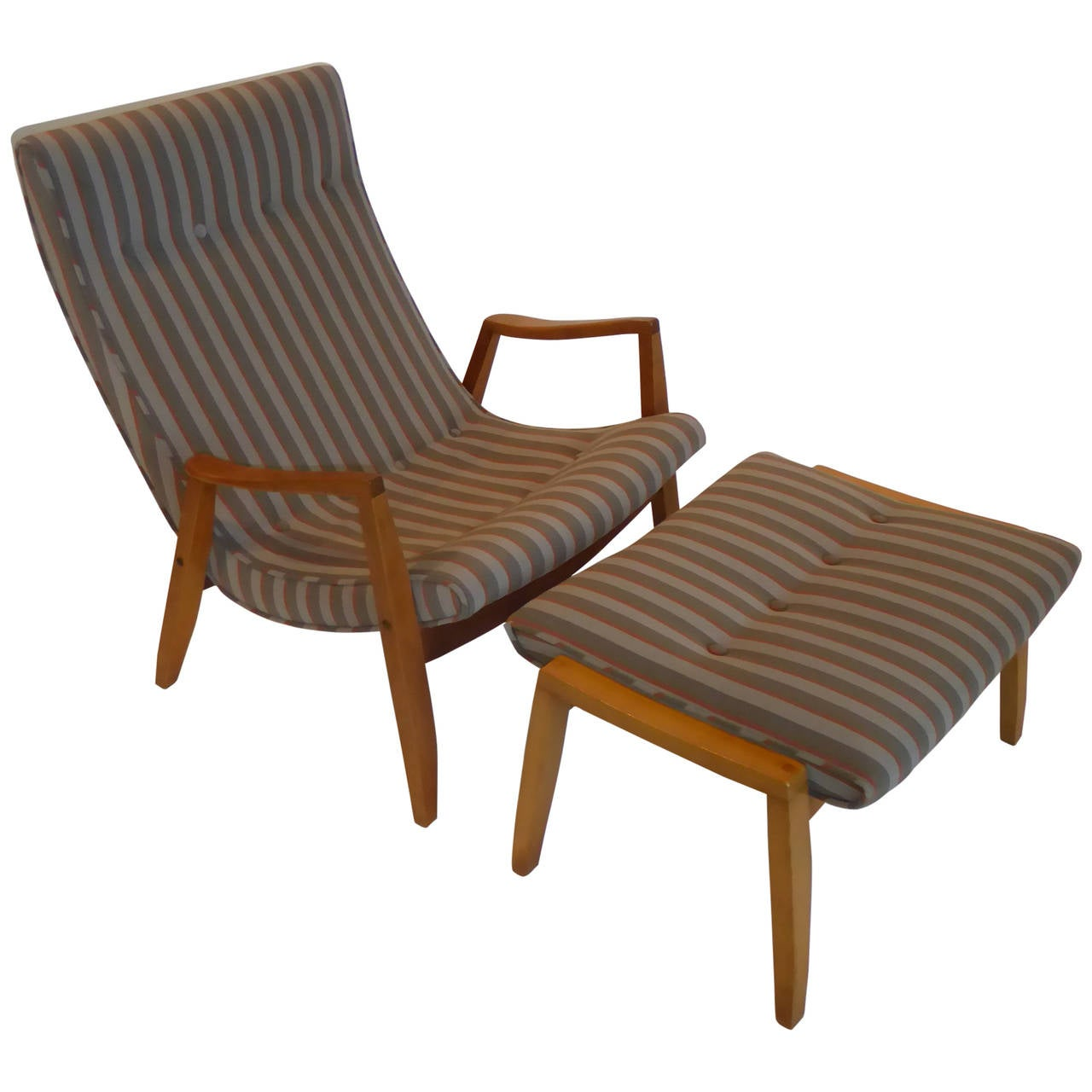 1950s Milo Baughman Scoop Lounge Chair And Ottoman 1