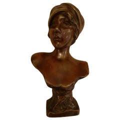 Petite Emmanuel Villanis Bronze Bust 'Moe'