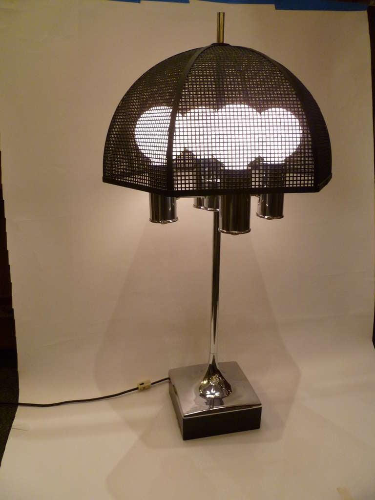 chrome bouillotte style table lamp metal mesh umbrella shade image 3. Black Bedroom Furniture Sets. Home Design Ideas