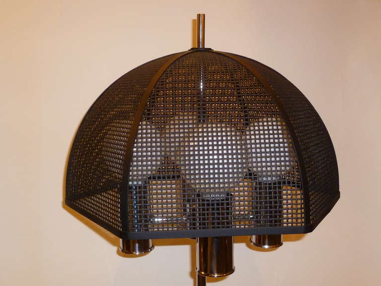 Modernist Chrome Bouillotte Style Table Lamp Metal Mesh Umbrella Shade For Sale 3
