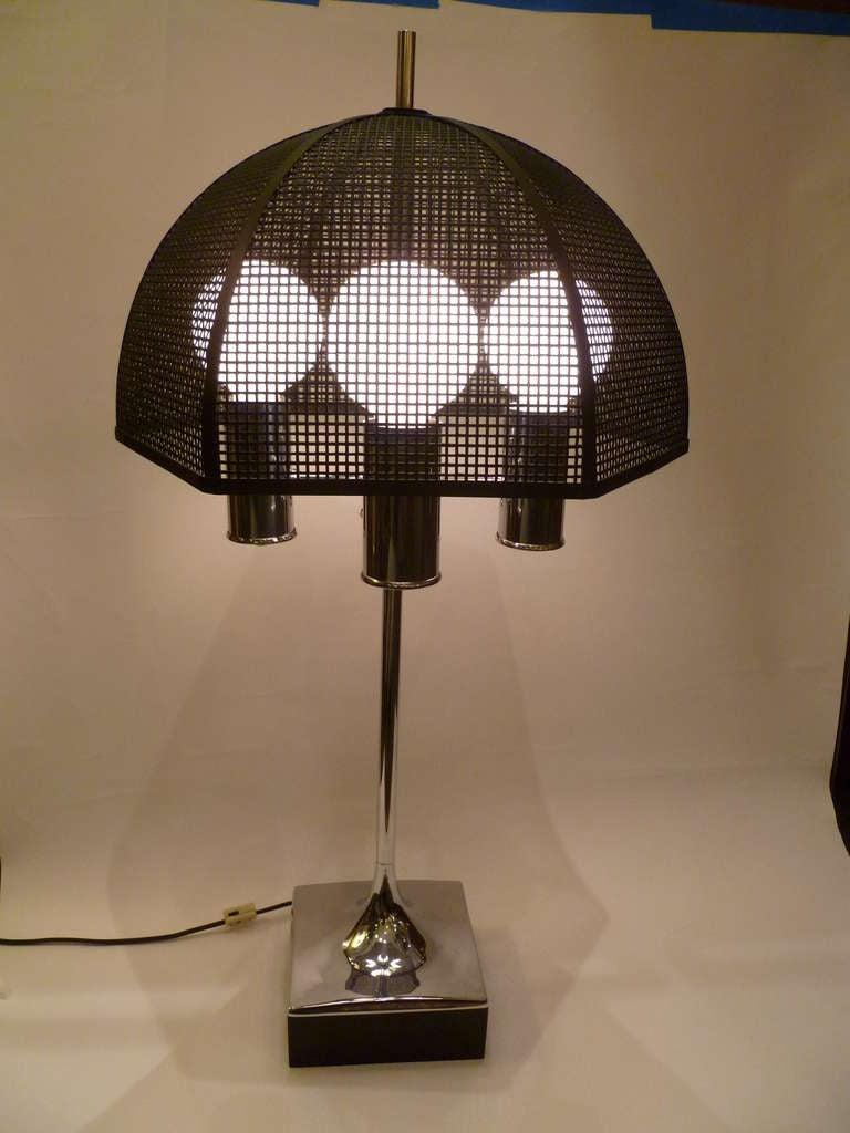 chrome bouillotte style table lamp metal mesh umbrella shade image 2. Black Bedroom Furniture Sets. Home Design Ideas