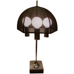 Modernist Laurel Chrome Bouillotte Style Table Lamp Metal Mesh Umbrella Shade