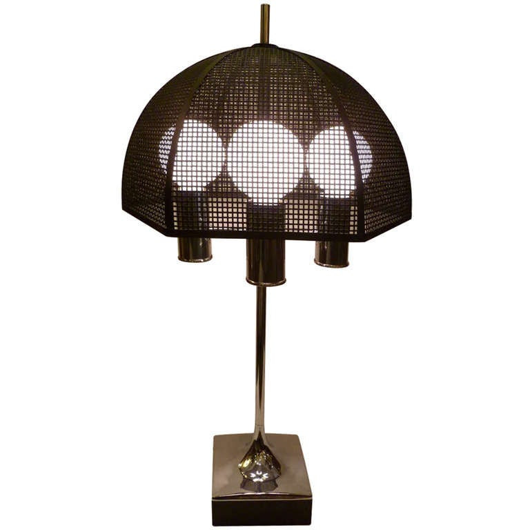 Modernist Chrome Bouillotte Style Table Lamp Metal Mesh