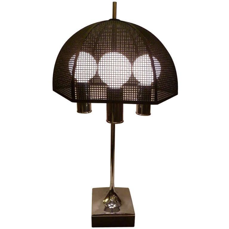 bouillotte style table lamp metal mesh umbrella shade at 1stdibs. Black Bedroom Furniture Sets. Home Design Ideas