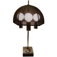 Modernist Chrome Bouillotte Style Table Lamp Metal Mesh Umbrella Shade