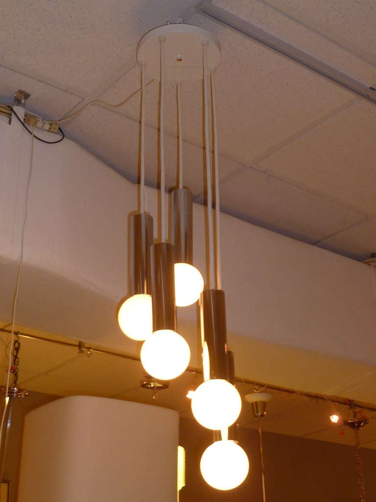 1970s Robert Sonneman Chrome Cascade Pendant Chandelier For Sale 3