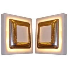 Pair of Modern Doria Leuchten Back Lit Wall Lights