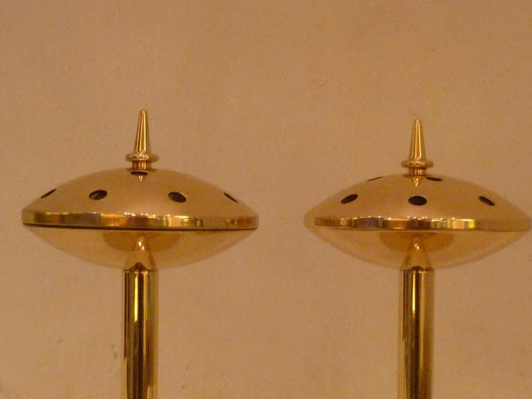 Rare 1950s Hans Agne Jakobsson Brass Candlesticks Sweden In Excellent Condition For Sale In Miami, FL