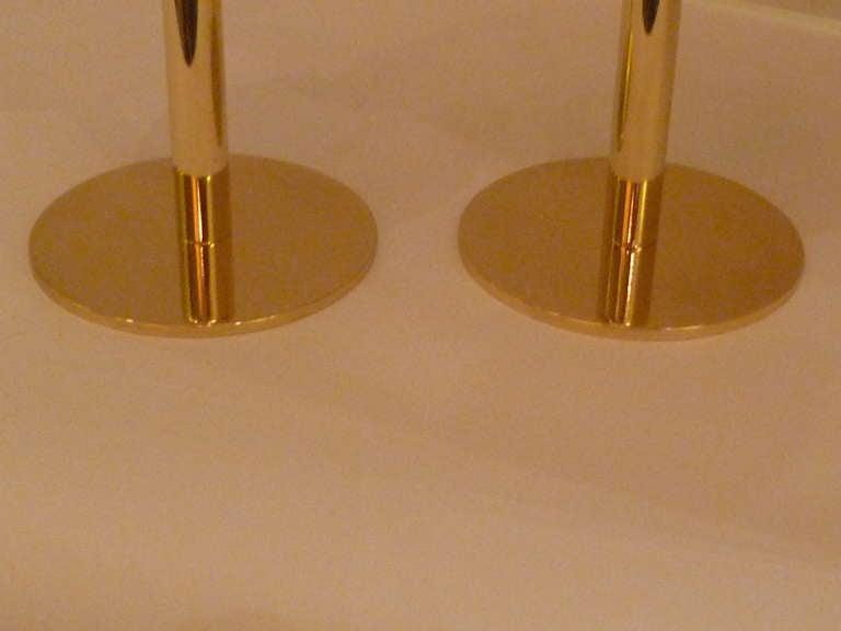 Mid-20th Century Rare 1950s Hans Agne Jakobsson Brass Candlesticks Sweden For Sale