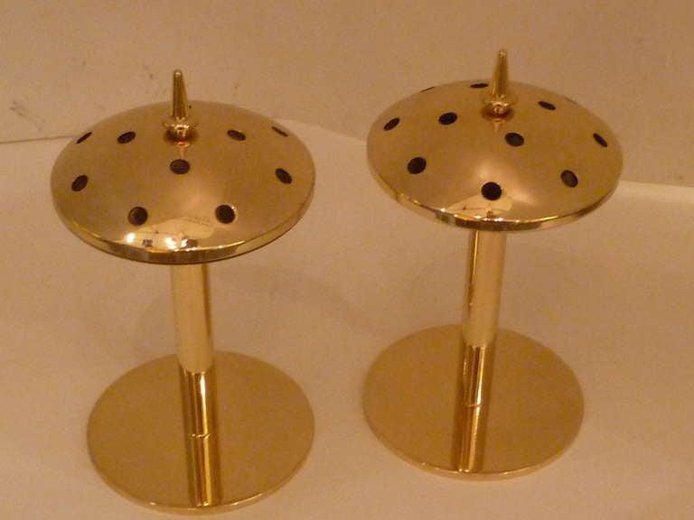 Rare 1950s Hans Agne Jakobsson Brass Candlesticks Sweden For Sale 1