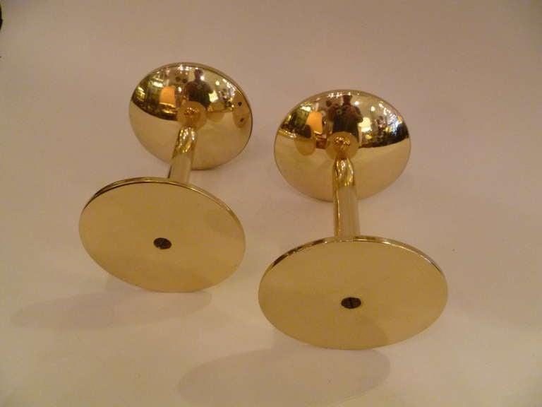 Rare 1950s Hans Agne Jakobsson Brass Candlesticks Sweden For Sale 3