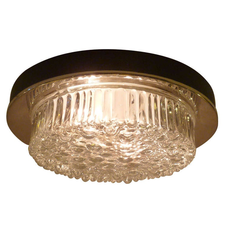 PAIR 60s Ice Bubble Glass and Chrome Flush Mount or Wall Lights at 1stdibs