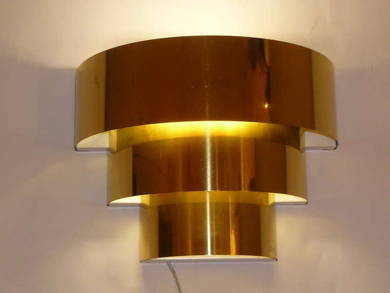 Modern Brass Wall Sconces : Two Pairs of 1984 Modern Jere Brass Wall Sconces at 1stdibs