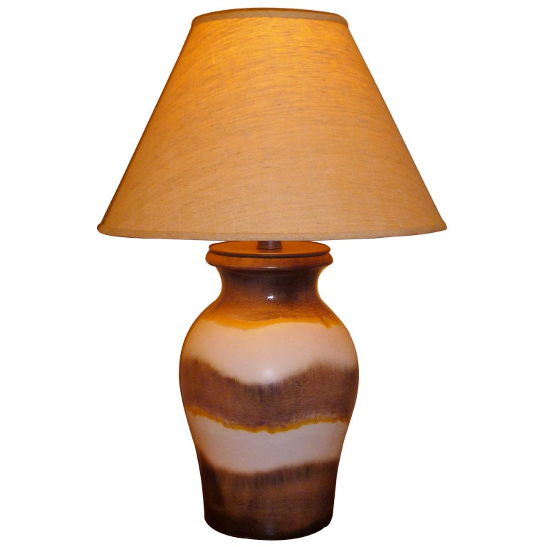 Large Raymor German Fat Lava Drip Glaze Table Lamp