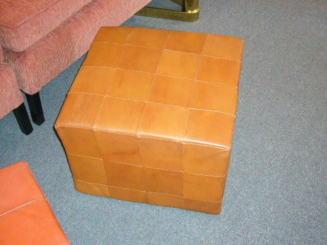 Large Danish Patchwork Leather Cube Ottoman At 1stdibs