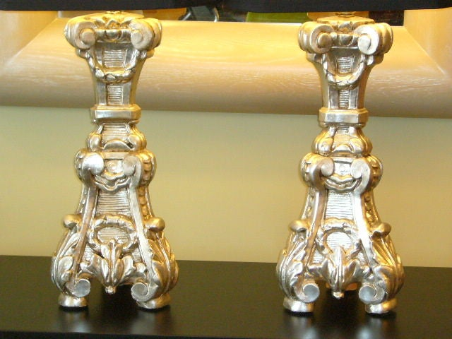 Late 18th Century Italian Silver Gilt Altar Prickets as Table Lamps For Sale 5