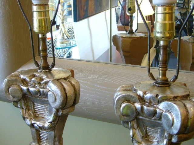 Late 18th Century Italian Silver Gilt Altar Prickets as Table Lamps For Sale 3