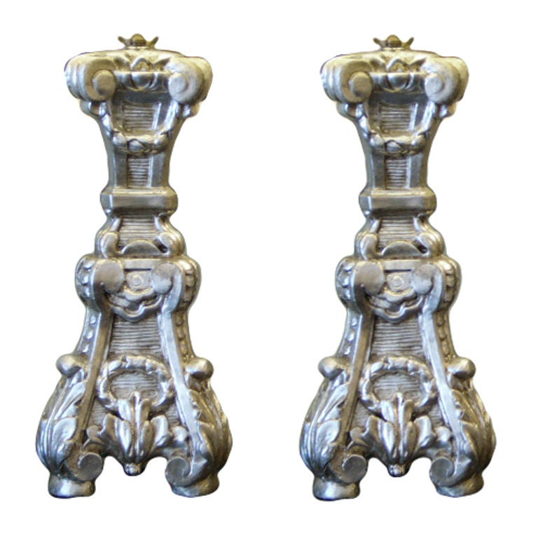 Late 18th Century Italian Silver Gilt Altar Prickets as Table Lamps