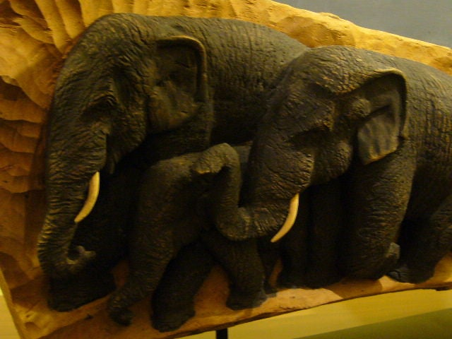 Fine elephant family high relief carved sculpture at stdibs