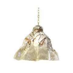 Exciting Mazzega Thick Ice Glass Chandelier