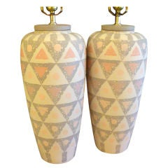 Smart Geometric Motif Vase Form Pottery Table Lamps