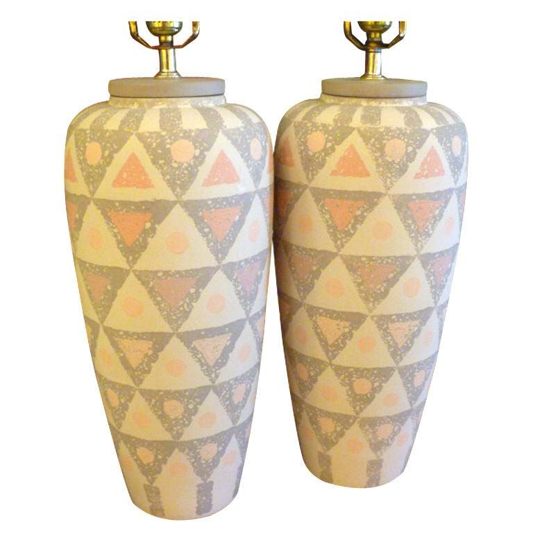 Modern Ceramic Vase Table Lamp: Smart Geometric Motif Vase Form Pottery Table Lamps For