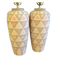 Smart Geometric Motif Vase Form Pottery Table Lamps
