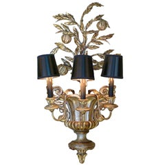 Italian Carved Silvered Wood and Metal Pomegranate Tree Sconce
