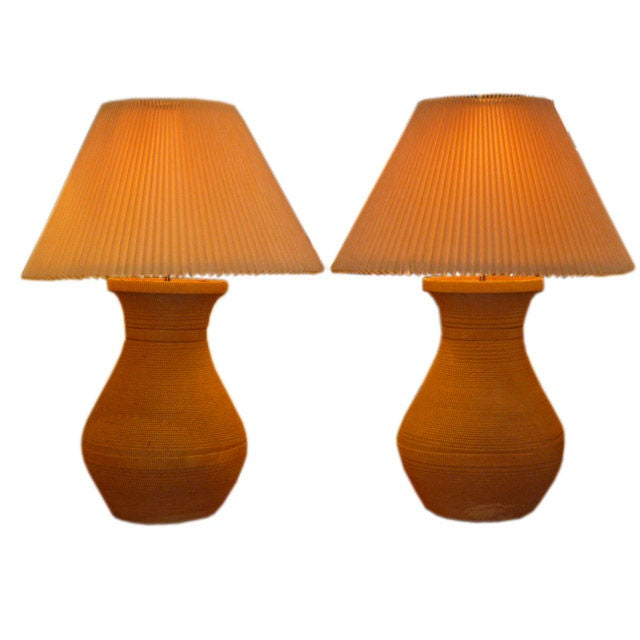 Unique 1970s Spiral Corrugated Paper Table Lamps For Sale