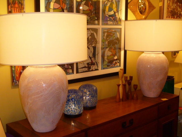 Pair of Unusual Fat Drip Glazed Oil Jar Form Table Lamps 10