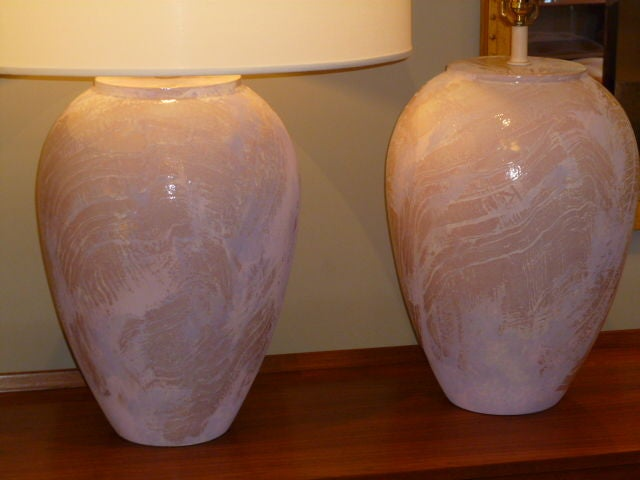 Pair of Unusual Fat Drip Glazed Oil Jar Form Table Lamps 3
