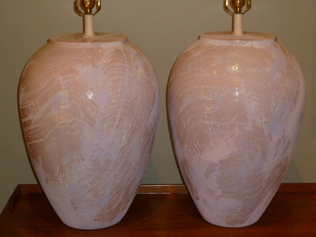 American Pair of Unusual Fat Drip Glazed Oil Jar Form Table Lamps For Sale