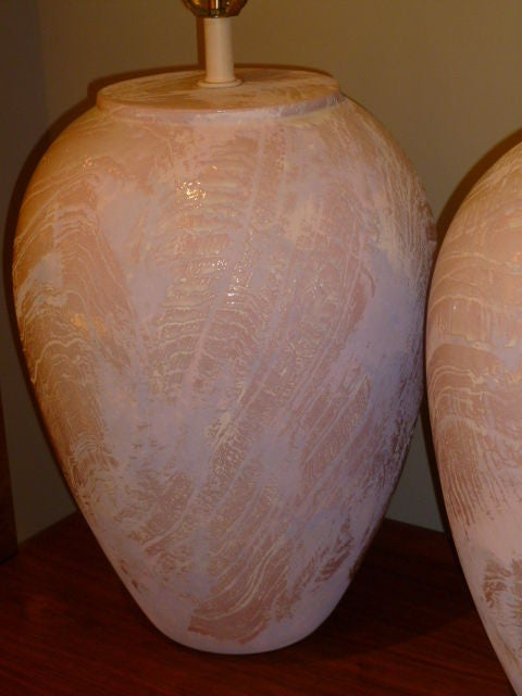 Pair of Unusual Fat Drip Glazed Oil Jar Form Table Lamps In Excellent Condition For Sale In Miami, FL
