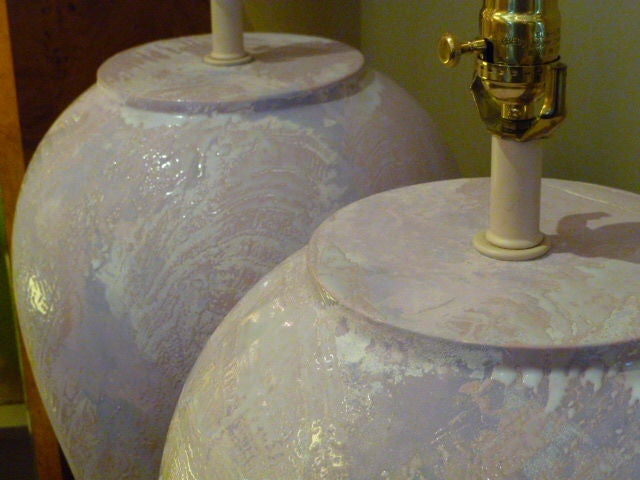 Pair of Unusual Fat Drip Glazed Oil Jar Form Table Lamps 8