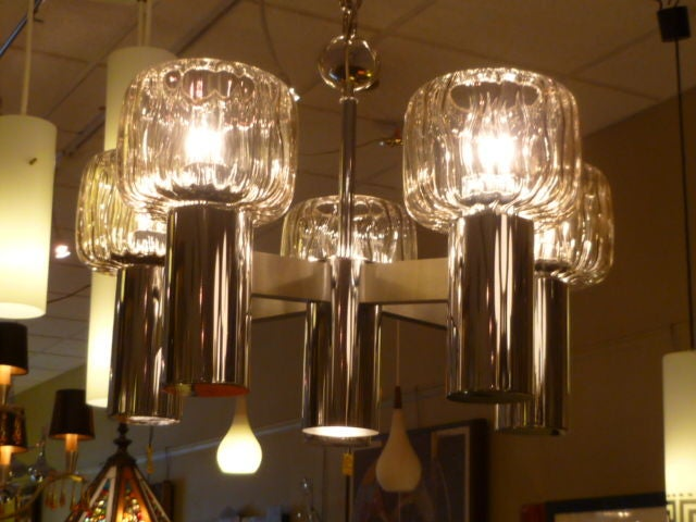 American Exciting Five Globe Nickel Lightolier Chandelier For Sale