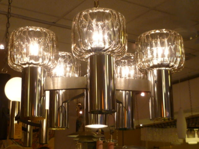 Exciting Five Globe Nickel Lightolier Chandelier In Excellent Condition For Sale In Miami, FL