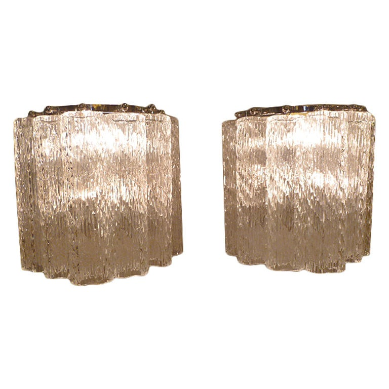 Elegant Crystal Wall Sconces : PAIR Elegant Venini Tronchi Crystal Wall Sconces at 1stdibs