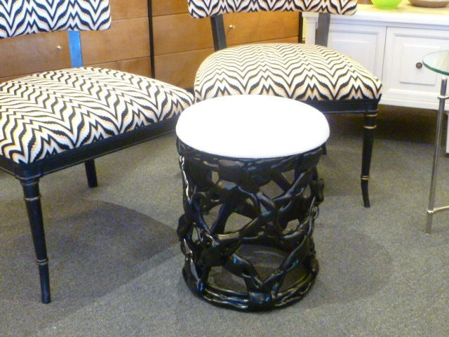 Chic Black Resin Ribbon Stool Seat For Sale At 1stdibs