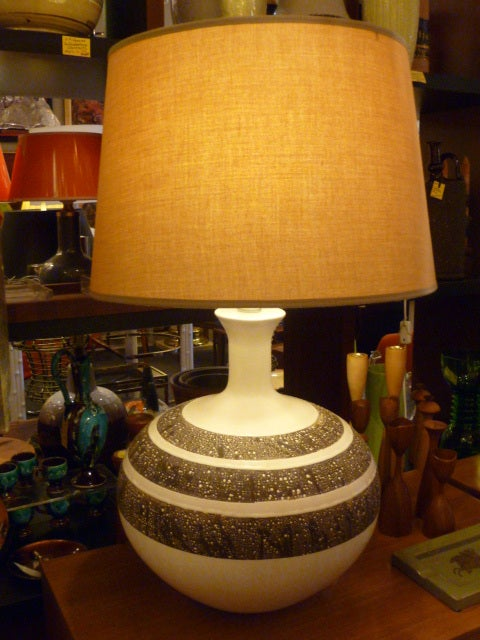 Fat Fun 60 39 S Lava Glaze Pottery Table Lamps At 1stdibs