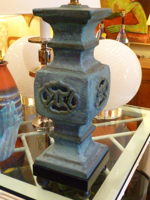 Mid-Century Modern Monumental Lava Glaze Asian Motif Table Lamp For Sale