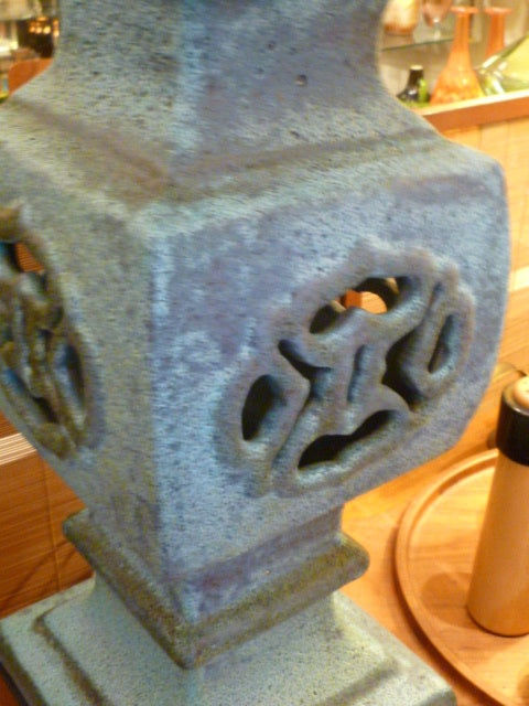 Mid-20th Century Monumental Lava Glaze Asian Motif Table Lamp For Sale